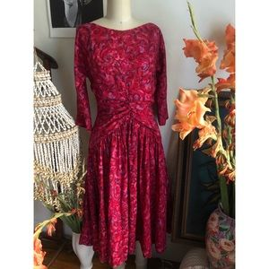 1950 Vintage red and pink watercolor evening dress